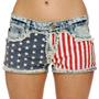 Gypsy Junkies Liberty Cutoffs - Flag Print Shorts - Denim Shorts - &amp;#36;78.00