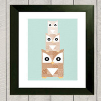 Owl Nursery Art Print  Stacked Owls  by DeliveredByDanielle