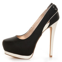 Qupid Tatum 27 Black & Ivory Platform Pumps - $36.00