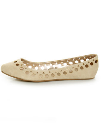Qupid Tipsy 70 Ivory Cutout Ballet Flats