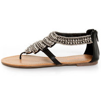 Wild Diva Giselle 01 Black Beaded Thong Sandals - &amp;#36;23.00