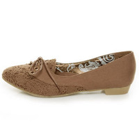 Dollhouse Holly Tan Canvas & Lace Flats - $29.00