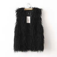Classic Black or White Long Faux Fur Vest