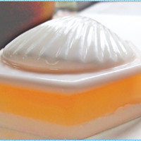 handmade shea butter soap - grapefruit scent - orange and white