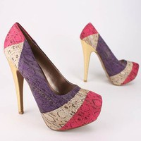 colorblock snake print pump $28.20 in FUCHSIA ORANGE - Heels | GoJane.com