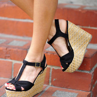 Little Bow Peep Wedges: Black | Hope's