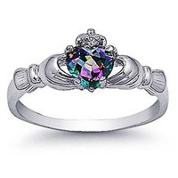 Amazon.com: Rhodium Plated Sterling Silver Wedding & Engagement Ring Rainbow Topaz CZ Claddagh Ring 9MM ( Size 4 to 10): Jewelry