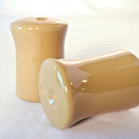 Olive Green Salt and Pepper Shakers, Franciscan Pebble Beach Mushroom Shape