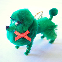 Dark Green Poodle Ornament, Retro 50s Nostalgia Pom Pom Animal