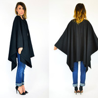 belarus black ultra DRAPED avant garde 100% WOOL cape COAT, extra small-medium