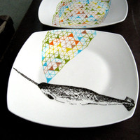 Narwhal Whale Geometric Design Plates hand illustrated porcelain Set of two