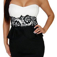 Overflow (White/Black)-Great Glam is the web's best online shop for trendy club styles, fashionable party dresses and dress wear, super hot clubbing clothing, stylish going out shirts, partying clothes, super cute and sexy club fashions, halter and tube t