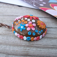 Polymer Clay Flower Pendant Necklace by FlowertownOriginals