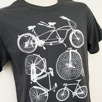 Bike Shirt - Bicycle Collection Mens Unisex GREY Shirt - Sizes S, M, L, XL