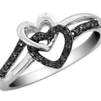 Amazon.com: Black Diamond Double Heart Promise Ring in Sterling Silver: Jewelry