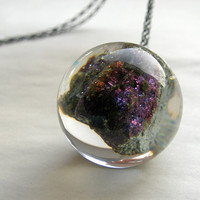 Resin Necklace with Bornite by sisicata on Etsy