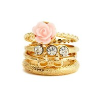 Bows & Blossoms Stackable Ring Set: Charlotte Russe
