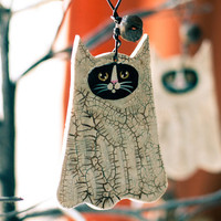 Ghostly Cat Halloween Clay Folk Art Ornament