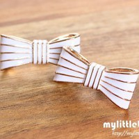 Striped Bow Tie Studs ? White