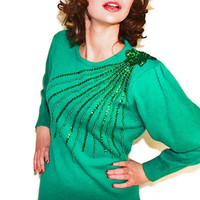 SALE Vintage Green Sequins Sweater Dress. Emerald Knit Shift Dress with Sequins Beads. St. Patrick&#x27;s Day. Mad Men Fashion. Spring.