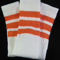 Womens Mens New White Knee High Tube Socks Orange Stripe on eBay!