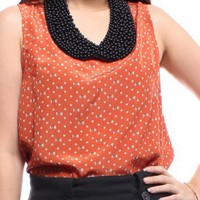 Orange Ribbons Sleeveless Top