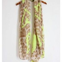 Cheetah print scarf with neon green harts