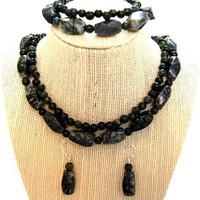 Feng Shui,Chakra,Gemstone,Black Serpentine,Jewelry Set