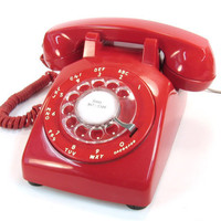 Vintage Rotary Red Telephone 1968 Stromberg Carlson by Retroburgh
