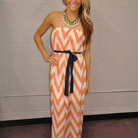 CORAL Chevron Maxi Dress with Leg Slits