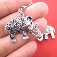 Decorative Elephant Animal Dangle Earrings in Silver