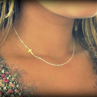 New Two Tone Sideways Cross Necklace, Gold Cross on Silver chain.