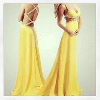 Sexy Yellow Long Evening/Prom/Bridal Dress