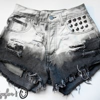 Bleached Ombre Studded High Waisted Denim Shorts by todyefordenim