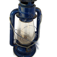 Blue Vintage Glass Globe Lantern by lifeaccessories on Etsy