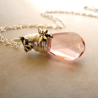 Pink Dragonfly Necklace Vintage Faceted Glass by BellinaCreations