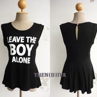 Leave the Boy Alone Asymmetric Hem Women T-Shirt (Black)