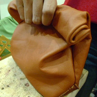 handmade tan leather lunch bag
