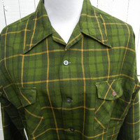 Vintage 1950s Green Wool Plaid Mad Men Shirt