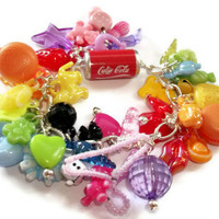 Gumball Charm Bracelet Coloured plastic by KitschBitchJewellery