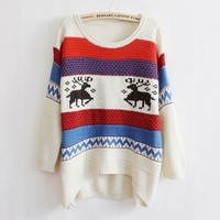Elk Pattern Retro Loose Knit Stripe Sweater