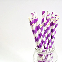 Paper Straw Striped - Plum x 25