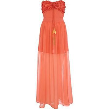 coral bandeau maxi dress - cover-ups - swimwear / beachwear - women - River Island