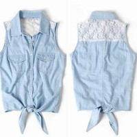 Lace Sleeveless Vest Shirt