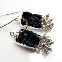 Black Druzy Earrings Silver Pyrite Wire Wrapped Cluster Earrings Black and Silver Earrings Spring 2013 Fashion - Erin