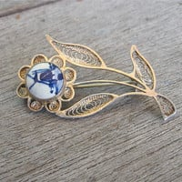 Vintage Delft Brooch Filigree Flower Pin