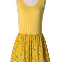 Mustard Sleeveless Pleated Dress