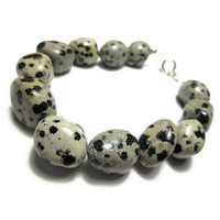Bracelet With Mexican Naturally Spotted Dalmatian Jasper Stone, Black, Brown, Grey Tones