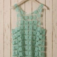 Mint Green Daisy Crochet Top