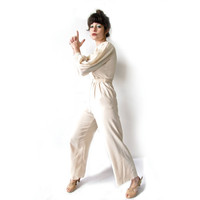 Vintage 1970s Jumpsuit. Cream Long Sleeve Onesuit with Beaded Collar. Size XS / Small